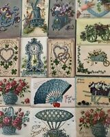 """Lot of 15~ Pretty ~""""Objects Shaped By Flowers""""~Antique Greetings Postcards-h97"""