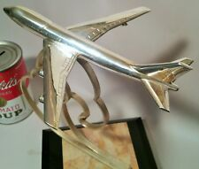 .970 STERLING japan airlines silver statue award trophy 747 jet engine vtg art