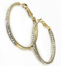 """Gold Hoop Earrings 1 1/2"""" Clear Crystal CZ Inside Outside Metal Alloy"""