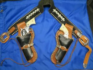 ANTIQUE STALLION HOLSTER & CAP GUNS SET ~ COWBOY DRESS UP ~ TOY GUNS