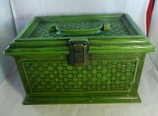 Vintage 1960s Marked Lerner Sewing Plastic Box w/ Tray Green Molded Craft Basket