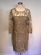 Gina Bacconi Truffle Lace 3/4 Sleeve Knee Length Dress Size 18