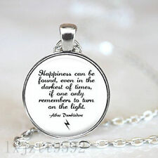Harry Potter Inspired Silver Pendant Necklace, Albus Dumbledore Quote Happiness
