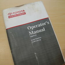 Toyota 7hbw23 Electric Pallet Truck Owner Operator Safety Manual User Guide Book