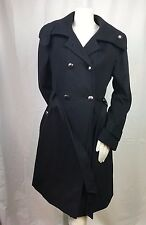 Tahari Women's Stylish Long Full Double Breasted Wool Blend Black Coat Size 12
