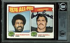 Steelers Andy Russell Authentic Signed Card 1975 Topps #219 AP LB's BAS Slabbed
