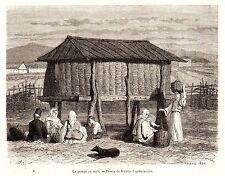 Antique print South Slavic border - farm corn barn shed slavs 1870 ladies dog