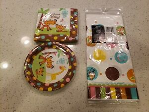 FISHER PRICE BABY SHOWER 16-PAPER LUNCH NAPKINS 8 PLATES TABLE COVER PARTY SET