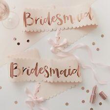 2 Pink Rose Gold Bridesmaid Sashes Team Bride Hen Party Sash Ginger Ray
