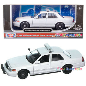 "2010 Ford Crown Victoria Interceptor Diecast 1:24 Unmark 8"" WHITE Motormax 76469"