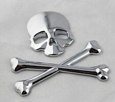 Chrome Stainless Metal Skull Head Crossbones Demon Logo Badge 3M Decal Sticker