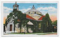 Postcard Linen FL 1944 Pennsacola Florida Christ Church Military Postage — C15