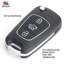 Upgraded Flip Remote Key Fob 433MHz ID46 for Hyundai Elantra 2011-2013 OKA-186T