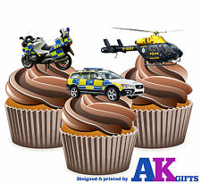 Police Car Motorbike Helicopter Birthday 12 Cup Cake Toppers Edible Decorations