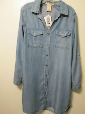 $88 Philosophy Tencel Blue Chambray Denim Look Shirt Dress Tunic Top Button Sz L
