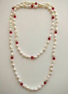 """48"""" - 36"""" Long 7/ 9 mm White Freshwater Cultured Pearl & Red Ruby Necklace."""