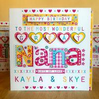 Great NANA Great GRANDMA  personalised birthday card personalised Special card