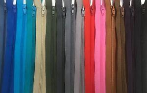 "20 Sizes 20 Colours T5 Zip 5 CM to 18 cm 2"" to 7""Nylon Closed End Zip Skirt ZIP"