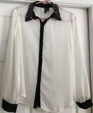 Fun & Flirt Sheer Cream and Black Button Down Collard Blouse. Size L