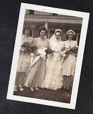 Vintage Antique Photograph Wedding Bride Standing With Bridesmaids in Yard