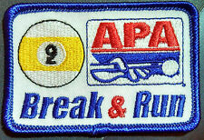 APA 9BALL BREAK & RUN  PATCHES AMERICAN POOLPLAYERS NEW