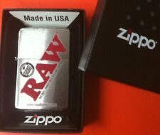 New RAW cigarette rolling papers brand ZIPPO BRUSHED CHROME BOXED LIGHTER