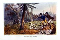 HUNTING MARTIN, HUNTERS SPORTSMEN DOGS HOUNDS MARTIN HUNT, VINTAGE COLOR PRINT