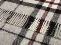 Pure new wool tartan sofa throw rug picnic blanket by BRONTE - GREY THOMPSON
