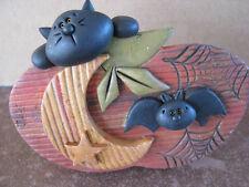 Unique Handmade FIMO Polymer Clay NO MOLD USED Halloween Plaque Cat Bat MoonStar
