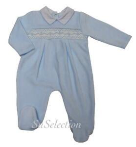 BABY BOY SPANISH STYLE SMOCKED STAR VELOUR SLEEPSUIT ROMPER-0/3-3/6 MONTHS-NEW