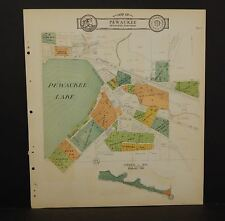 Wisconsin Waukesha County Map Pewaukee Lake Dbl Side 1930  Q8#42