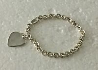"""Vintage Solid Sterling Silver Micro Chain Heart 7.25 in """" Bracelet 925 Lobster"""
