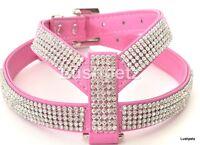 Bright Pink Rhinestone  Diamante Dog Harness toy chihuahua puppy cat bling