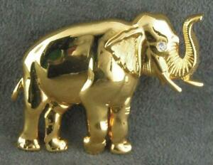 Good Luck Elephant Pin Vintage Gold Tn Trunk Up for Luck FREE SHIPPING Signed