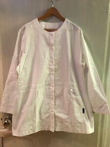 Koi Round Neck Scrub Jacket Women's Size 3X Solid White Style 406 Pocket