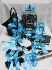 Black Pool Blue Turquoise Flower Girl Basket Ring Pillow Guest Book Pen Birdcage