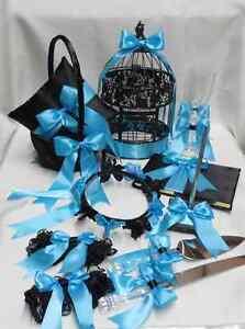 Black Pool Blue Turquoise Flower Girl Basket Ring Pillow Guest Book Pen Birdcage