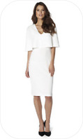 bnwt by CLUB L CAPE OVERLAY PLUNGE DRESS col: WHITE ~ UK SIZE 8 new