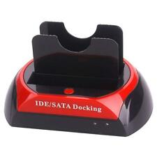 "2.5"" 3.5"" IDE SATA USB 2.0 Dual HDD Hard Drive OTB Disk Dock Station UK Plus BD"