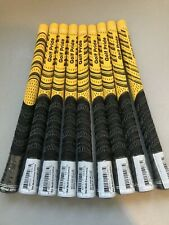 9 x GOLF PRIDE NEW DECADE® MULTI COMPOUND CORD STANDARD GOLF GRIPS YELLOW/BLACK