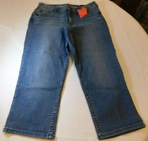 Lane Bryant Denim Women's Capri Jeans Crop Pants 14 Blue Secret Slimmer NWT