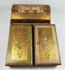 (3) Vintage 1960's Italian Florentine Gold Gilt Hand Made Wooden Trinket Boxes