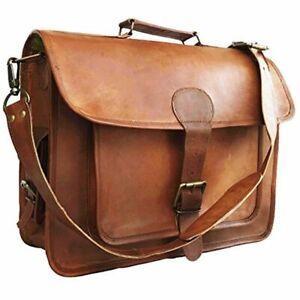 """15"""" Mens Goat Leather Vintage Brown Messenger Bag Shoulder Laptop Bag Briefcase"""