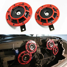 Compact Electric Loud Blast 12V 2pc Red Grille Mount Super Tone Hella Horn Kit
