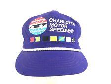 Vintage 90s Snapback Hat Charlotte Motor Speedway Crinkled Nylon Rope Cap Usa