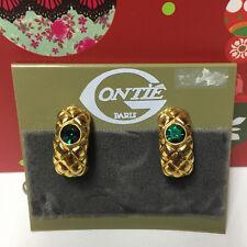 ONTIE VINTAGE GOLD GREEN RHINESTONE LOOP CLIP EARRINGS