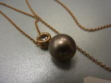 750er Gelbgoldkette mit Perlen und 1 Brilliant von 0,75 carat Kettelang 44 cm
