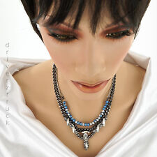 SIMPLY VERA WANG Silver & BLUE NECKLACE BEADS with VINTAGE STYLE Faux CRYSTALS