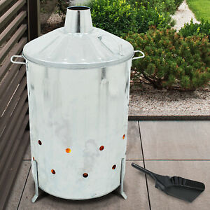 Garden Rubbish Fire Galvanised Incinerator Bin 90L Burner Wood Leaf Waste Paper