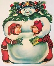 Charlot Byi Jolly Jumbo Unused Christmas Card Envelope Snowman Children